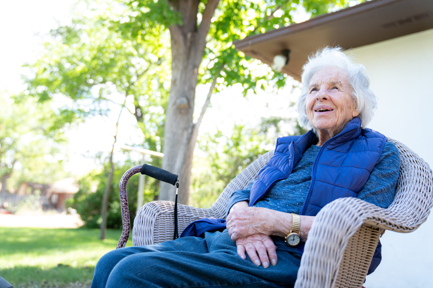 Beautiful 90 Plus Year-Old Elderly Senior Caucasian Woman Sitting Outdoors in Shade in the the Summer